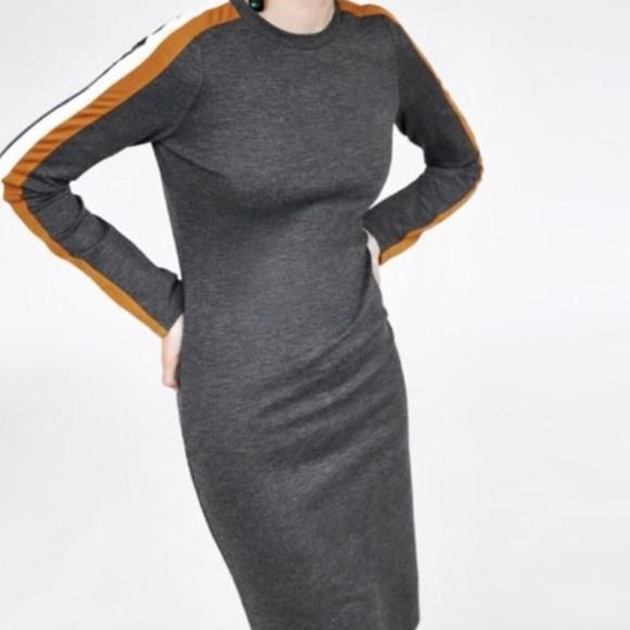 Zara Dresses & Skirts - Zara Grey Bodycon Midi Dress w/ Racer-Stripe Sleev